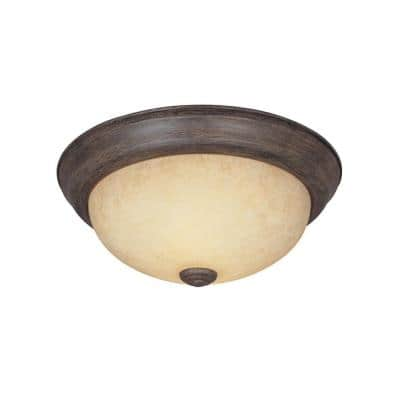 "Decorative Flushmount 14"" Medium 2-Light Warm Mahogany Ceiling Flush Mount"
