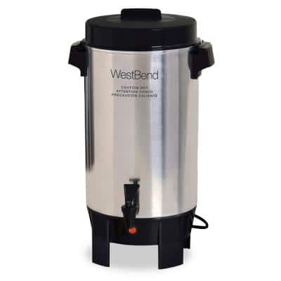 42-Cup Silver Polished Aluminum Urn Coffee Maker