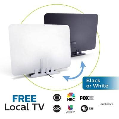 Indoor Ultra-Thin HDTV Antenna, 40-Mile Range, Flat Reversible Black and White Sides, VHF UHF 1080P 4K Ready
