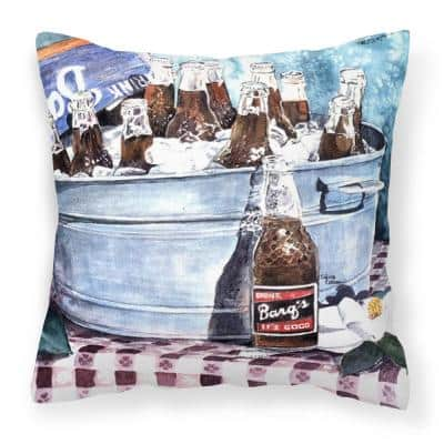 14 in. x 14 in. Multi-Color Lumbar Outdoor Throw Pillow Barqs and Old Washtub Decorative Canvas Fabric Pillow