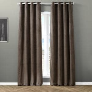 Midnight Blue Velvet Grommet Blackout Curtain - 50 in. W x 96 in. L