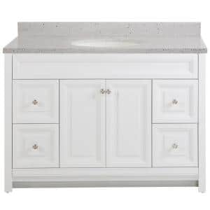 Brinkhill 49 in. W x 22 in. D Bathroom Vanity in White with Solid Surface Vanity Top in Silver Ash with White Sink