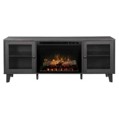 Dean 65 in. Media Console in Wrought Iron with a 26 in. Electric Fireplace with Logs