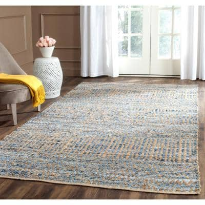 Cape Cod Natural/Blue 8 ft. x 10 ft. Distressed Striped Area Rug
