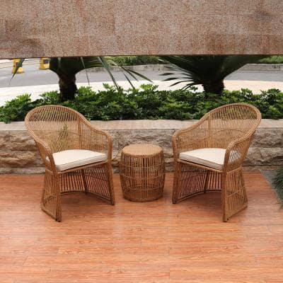 Natural Brown 3-Piece Wicker Outdoor Conversation Set with Beige Cushions