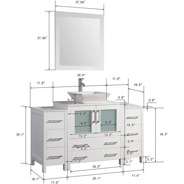 Vanity Art 54 In W X 18 5 In D X 36 In H Bathroom Vanity In White With Vanity Top White With Ceramic Single Basin And Mirror Va3130 54w The Home Depot