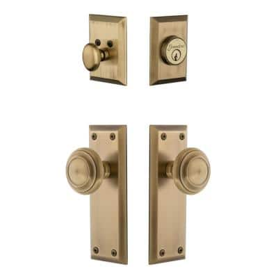 Fifth Avenue Plate 2-3/8 in. Backset Vintage Brass Circulaire Door Knob with Single Cylinder Deadbolt