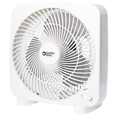 9 in. White Box Fan with 2-Speed Front Control