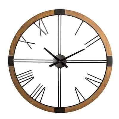 31.50 in. D Oversized Modern Farmhouse Metal/Wooden Wall Clock
