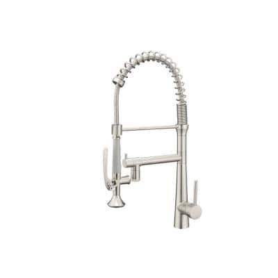 Contemporary Single-Handle Gooseneck Pull-Down Sprayer Kitchen Faucet with LED in Brushed Nickel