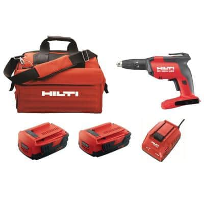 22-Volt Cordless Brushless SD 5000 Drywall Screwdriver Kit with Charger, (2) 2.6 Ah Batteries Pack, Bit, and Bag