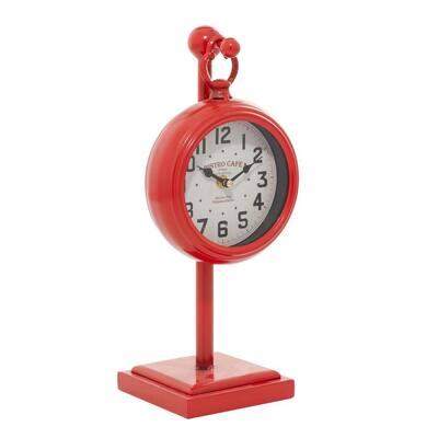 Red Farmhouse Metal Analog Clock