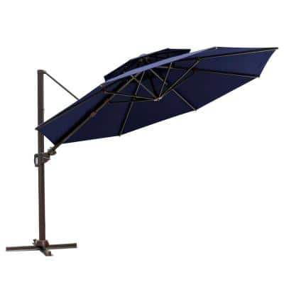 11.5 ft. Aluminum Cantilever Tilt Patio Umbrella in Navy Blue