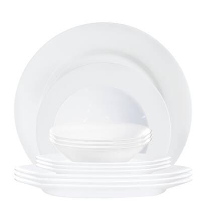 Everyday 12-Piece Contemporary White Glass Dinnerware Set (Service for 4)