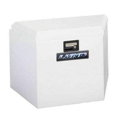 34 in White Aluminum  Trailer Tongue Truck Tool Box with mounting hardware and keys included