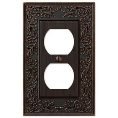 English Garden 1 Gang Duplex Metal Wall Plate - Aged Bronze