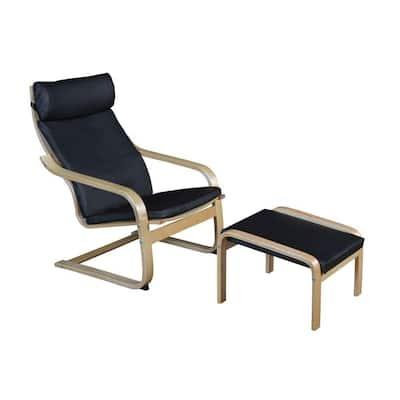 Baha Natural/Black Bentwood Reclining Chair and Ottoman