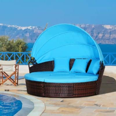 Brown 5-piece Cushioned Rattan Wicker Outdoor Sunbed or Conversational Sofa Set with Sun Canopy and Blue Cushions