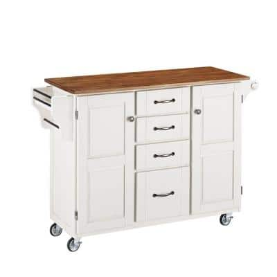 Create-a-Cart White Kitchen Cart with Oak Wood Top