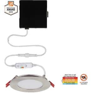 Commercial Electric Ultra Slim 4 In Color Selectable New Construction And Remodel Canless Recessed Integrated Led Kit 91469 The Home Depot