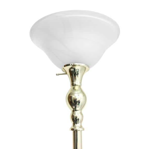 1 Light Gold Torchiere Floor Lamp, Replacement Glass Lamp Shades For Floor Lamps Uk