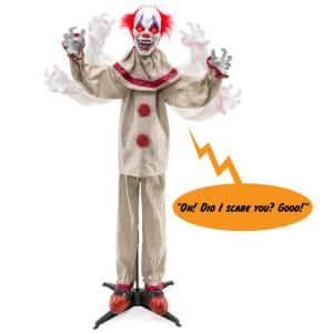 Scary Harry 64.5 in. Motion Activated Talking LED Animatronic Killer Clown Halloween Prop