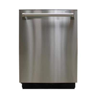 24 in. Stainless Steel Top Control Smart Dishwasher Digital 120-volt with Stainless Steel Tub and Steam Cleaning