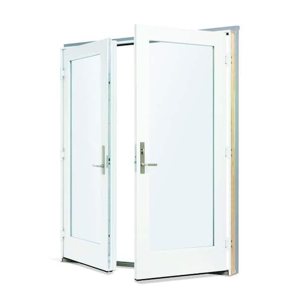 72 in x 80 in 200 series fiberglass white inswing hinged patio door