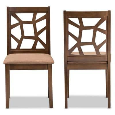 "Abilene Light Brown and ""Walnut"" Brown Fabric Dining Chair (Set of 2)"