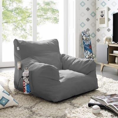 Comfy Light Grey Bean Bag Arm Chair Nylon Foam Lounger