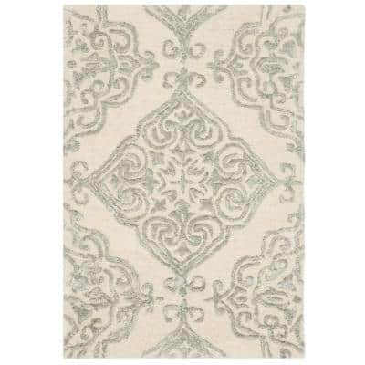 Glamour Ivory/Silver 2 ft. x 3 ft. Floral Area Rug