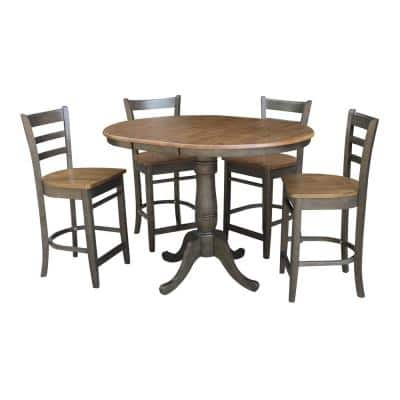 Laurel 5-Piece 36 in. Hickory/Coal Extendable Solid Wood Counter Height Dining Set with Emily Stools