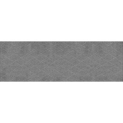 Aqua Shield Diamonds Medium Gray 3 ft. x 8 ft. PET Polyester Runner