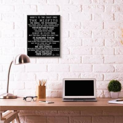 """24 in. x 30 in. """"Crazy Ones Inspirational Quote Word Black And White"""" by Daniel Sproul Framed Wall Art"""