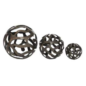 Free-Form Hollow Decorative Balls in Tarnished Brass (Set of 3)