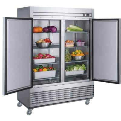 40.7 cu. ft. Commercial Upright Reach-in Refrigerator with 2 Doors in Stainless Steel