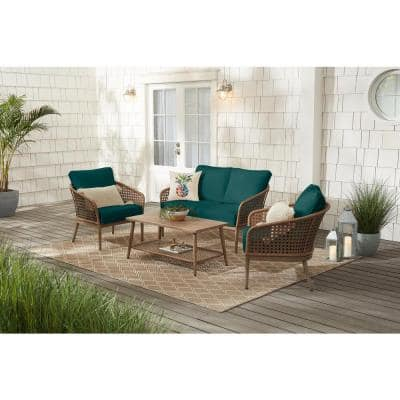 Coral Vista 4-Piece Brown Wicker and Steel Patio Conversation Seating Set with CushionGuard Malachite Green Cushions