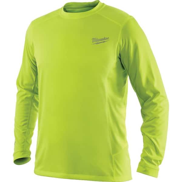 Milwaukee Men S Large Workskin High Visibility Yellow Long Sleeve Light Weight Performance Shirt 411hv L The Home Depot