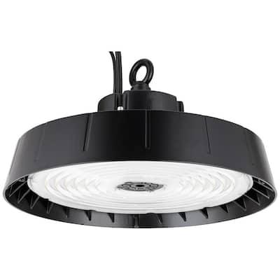 11.4 in. 300-Watt Equivalent Integrated LED 14,000 Lumens Wet Location Dimmable Black High Bay Light, Daylight 5000K