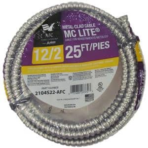 12/2 x 25 ft. Solid MC Lite Cable