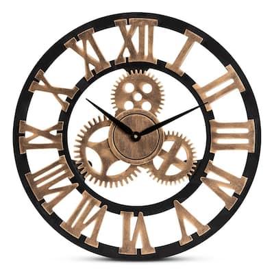 Randolph Black and Antique Gold Wall Clock