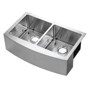 Belleville Undermount Stainless Steel 33 in. 50/50 Double Bowl Curved Farmhouse Apron Front Kitchen Sink