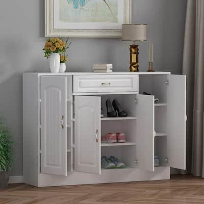35.4 in. H x 47.2 in. W  White Wood Shoe Storage Cabinet