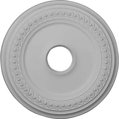 """18-5/8"""" 4"""" ID x 1-1/8"""" Classic Urethane Ceiling Medallion (Fits Canopies upto 12-3/4""""), Primed White"""