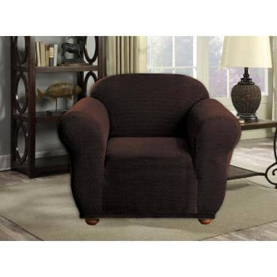 Hayden Water Resistant Chocolate Fit Polyester Fit Chair Slip Cover
