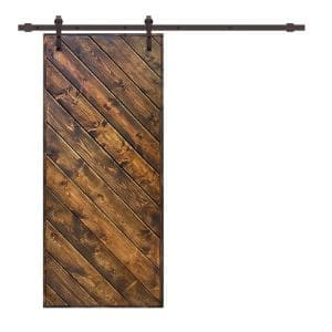 Modern European 36 in. x 84 in. Pre Assembled Walnut Stained Solid Wood Sliding Barn Door with Hardware Kit