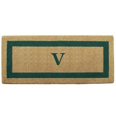 Single Picture Frame Green 24 in. x 57 in. Heavy Duty Coir Monogrammed V Door Mat