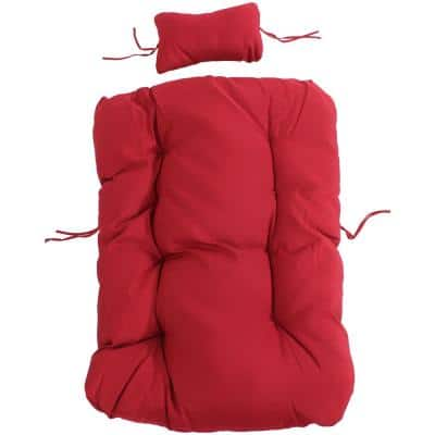 27 in. W x 6.50 in. Thick Julia Outdoor Hanging Egg Chair Replacement Cushions in Red
