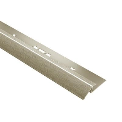 Vinpro-U Brushed Nickel Anodized Aluminum 3/16 in. x 8 ft. 2-1/2 in. Metal Reducer Resilient Tile Edge Trim