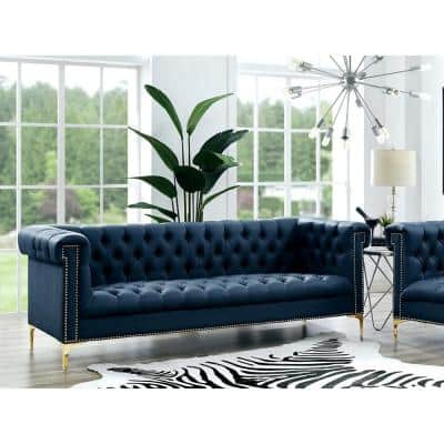 Ramona 33.8 in. Navy/Gold Faux Leather 3-Seater Tuxedo Sofa with Nailheads
